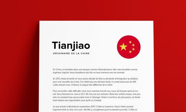 Le parcours de Tianjiao
